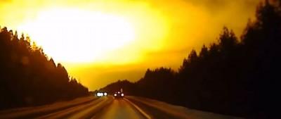 L'esplosione vista in cielo in Russia