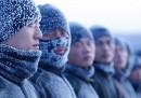L'addestramento di soldati cinesi, a 30 gradi sotto zero