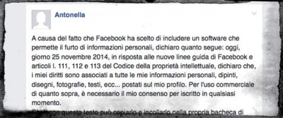 Il messaggio bufala per la privacy su Facebook