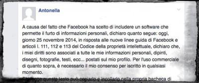 Il messaggio bufala per la privacy su Facebook