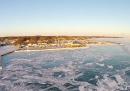 Il lago Erie ghiacciato, visto dall'alto