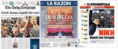 Le prime pagine internazionali sulla vittoria di Tsipras