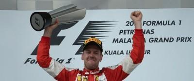L'esultanza di Sebastian Vettel dopo la vittoria in Malesia, via radio