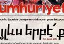 """La prima pagina del giornale turco """"Cumhuriyet"""" sul genocidio degli armeni"""