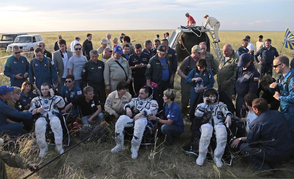 Ritorno sulla Terra di Anton Shkaplerov, Terry Virts, Samantha Cristoforetti