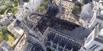 La basilica di Nantes andata a fuoco, vista dall'alto