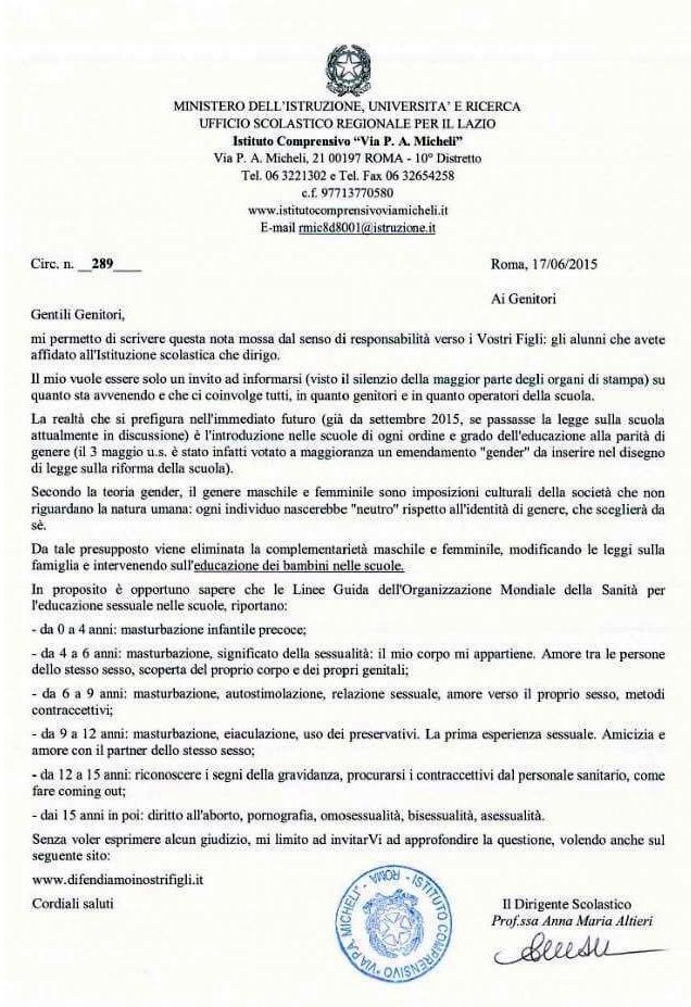 la lettera di una preside di roma contro la teoria gender
