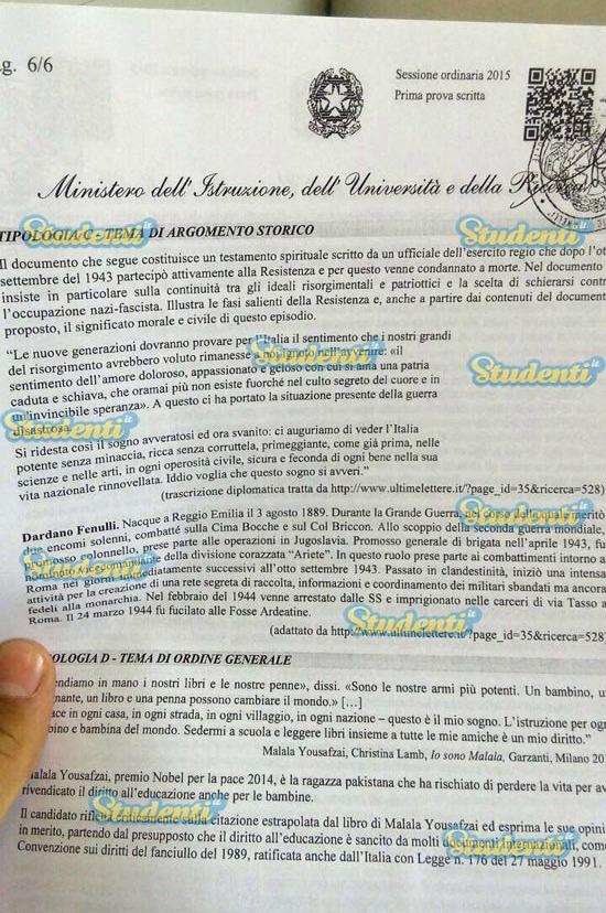 Quali sono le tracce dei temi uscite per la maturit di for Esame di italiano per carta di soggiorno esempi