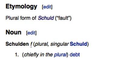 """In tedesco c'è una sola parola per dire """"colpa"""" e """"debiti"""""""