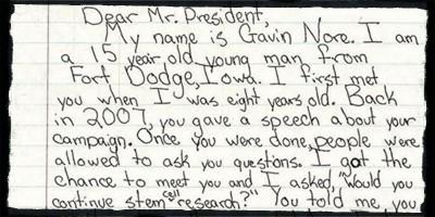 La lettera a Obama di un ragazzo curato con le staminali