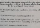 L'inserzione che sconsiglia ai rifugiati di andare in Danimarca