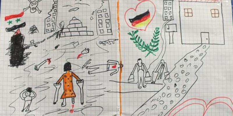 Il disegno che una bambina siriana ha dato a un poliziotto for Citta della siria che da nome a un pino