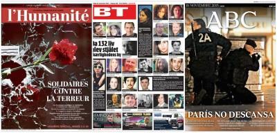 Le prime pagine internazionali di lunedì su Parigi