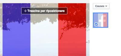L'opzione di Facebook per colorare la foto profilo con la bandiera della Francia