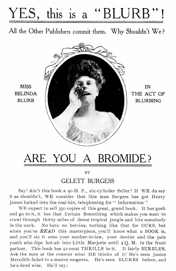 "La copertina di ""Are you a Bromide?"" di Gelett Burgess, 1906. L'atto di nascita del termine ""blurb"""