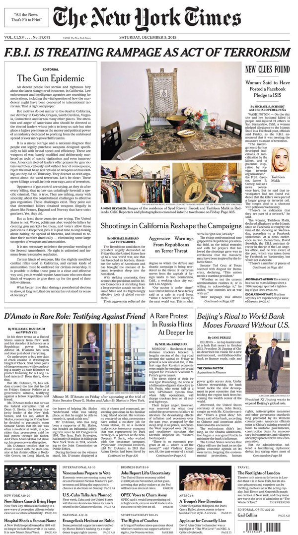 Prima pagina del New York Times