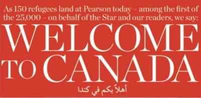 La prima pagina del Toronto Star per i rifugiati siriani