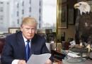 Il video di Donald Trump, candidato alla presidenza degli Stati Uniti, faticosamente alle prese con un'aquila