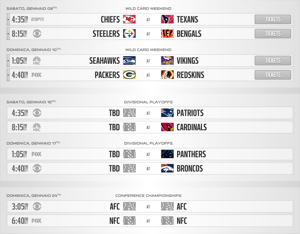 Calendario Play Off.Guida Ai Playoff Di Nfl Il Post