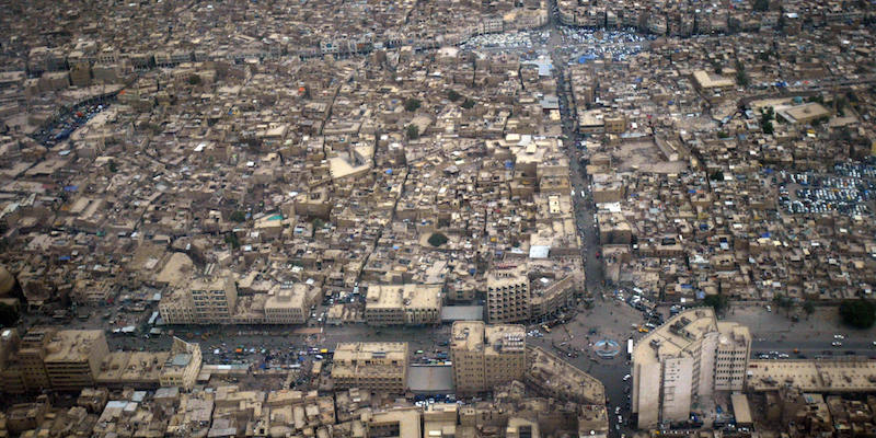 An aerial view shows the Fadel district