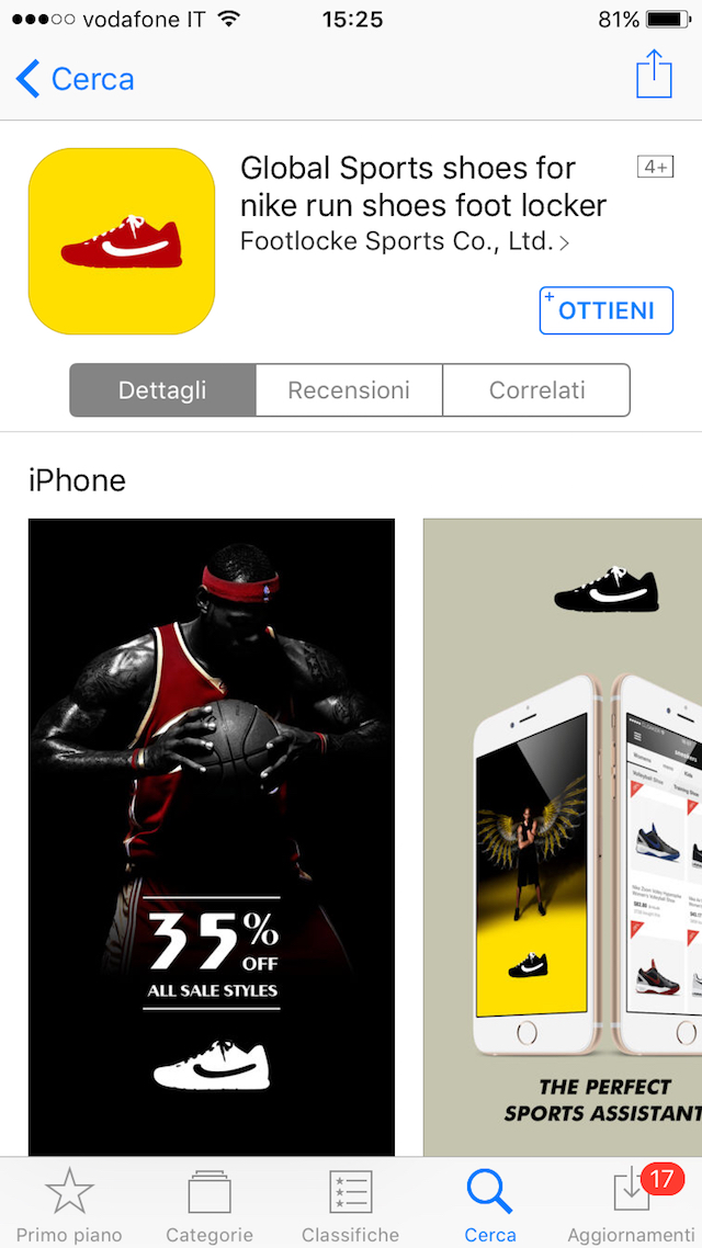 "7eecb166fd52 La app ""Global Sports shoes for nike run shoes foot locker"" è sull'App  Store dal 4 novembre"