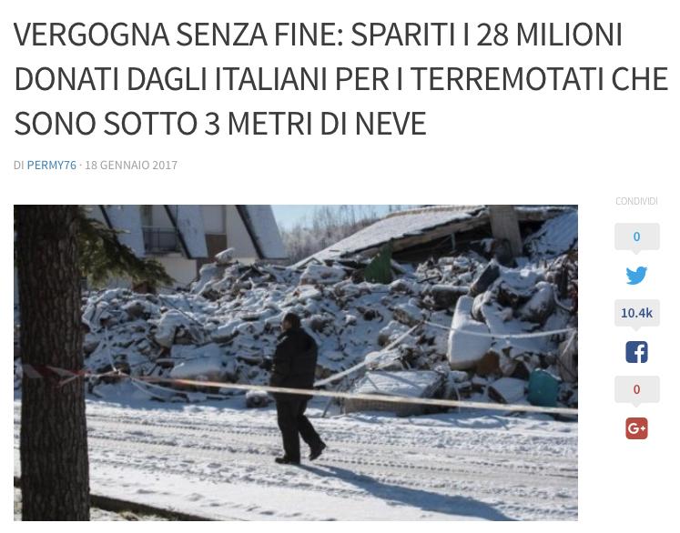 "Risultati immagini per soldi scomparsi"" per i terremotati"