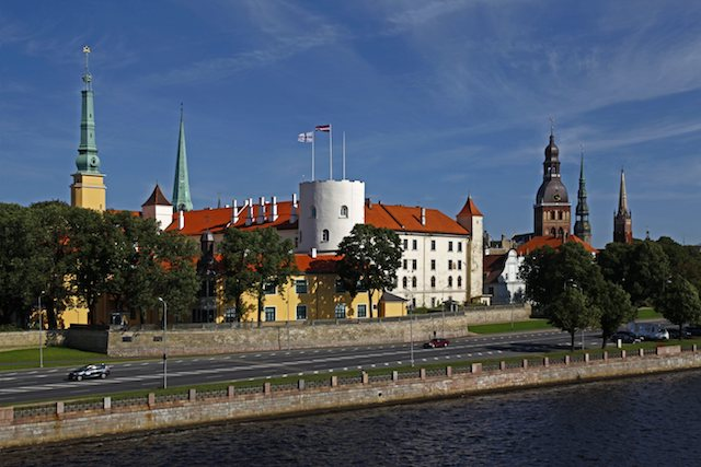 Towers of the cathedral and of the St. Peter's church, Riga, Latvia, The Baltic States