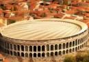 Le foto del progetto per coprire l'Arena di Verona