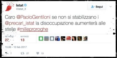 I precari dell'ISTAT hanno dirottato l'account Twitter dell'ISTAT