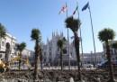 Le foto delle palme in piazza Duomo a Milano, che non piacciono a molti