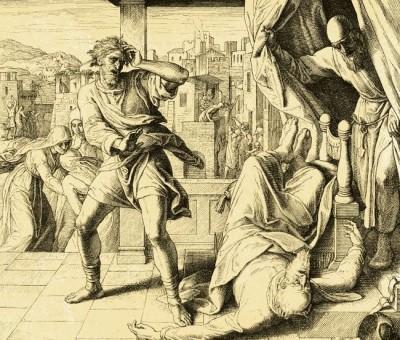 """""""E colui che portava la notizia rispose: """"Israele e fuggito d'innanzi ai Filistei; e v'è stata una grande strage fra il popolo; anche i tuoi due figliuoli, Hofni e Fineas, sono morti, e l'arca di Dio e stata presa"""". E come ebbe mentovato l'arca di Dio, Eli cadde dal suo seggio all'indietro, allato alla porta, si ruppe la nuca, e morì..."""" (1 Samuele 4,12-18)."""