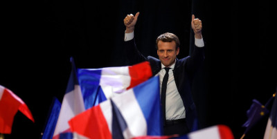 Presidential Candidate Emmanuel Macron Hosts A Meeting At Parc Des Expositions In Paris