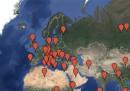 La mappa dei luoghi citati nelle canzoni di Franco Battiato