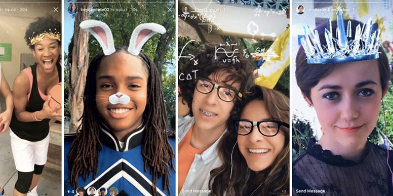 Instagram, filtri facciali in stile realtà aumentata