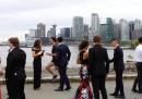 Foto del ballo di fine anno, con Trudeau che fa jogging