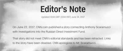 Tre giornalisti di CNN si sono dimessi per avere pubblicato un articolo infondato