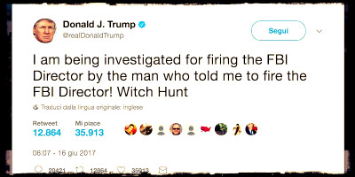 Anche Trump dice di essere indagato