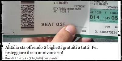 Non è vero che Alitalia regala biglietti aerei