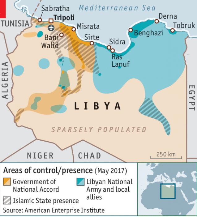 mappa libia economist