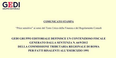 Il gruppo editoriale Espresso ha patteggiato il pagamento di 175,3 milioni di euro alla Commissione Tributaria Regionale di Roma
