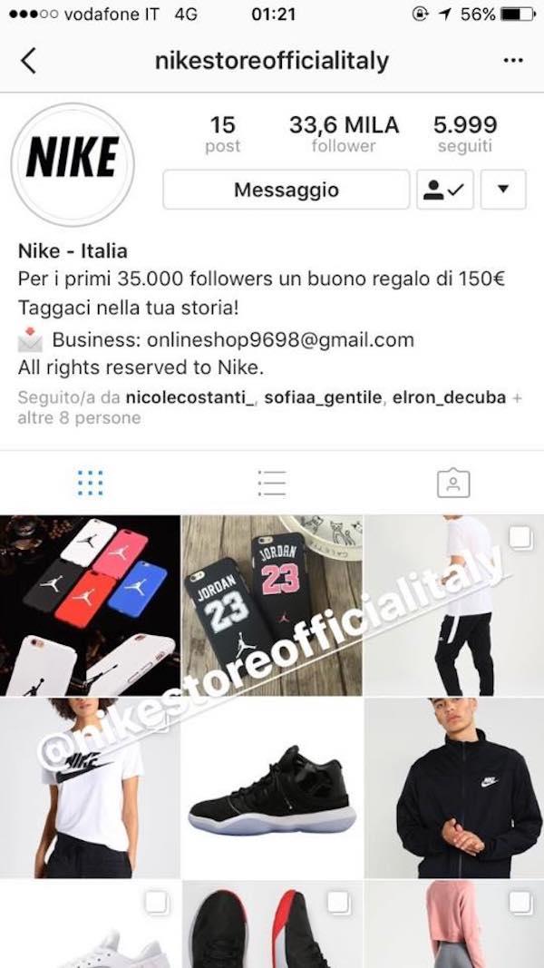 sconto nike instagram