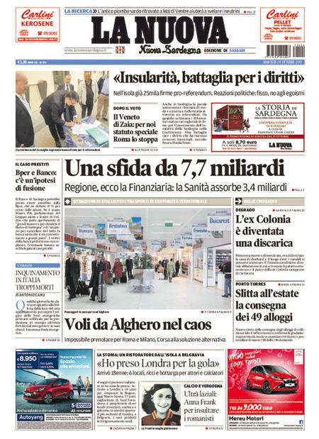 Le prime pagine di oggi il post - Lo specchio dei desideri sassari ...