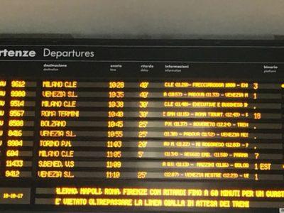 A causa di un guasto, i treni dell'alta velocità verso nord viaggiano con ritardi fino a 60 minuti