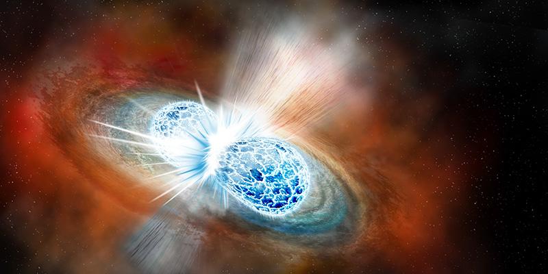 Elaborazione grafica della fusione di due stelle di neutroni (INFN - sito ufficiale)
