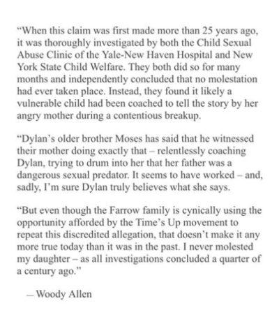 La nuova risposta di Woody Allen alle accuse di abusi sessuali della figlia adottiva Dylan Farrow