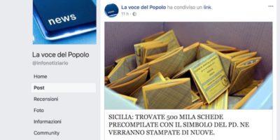 La bufala delle 500mila schede con una croce sul simbolo del PD trovate in Sicilia