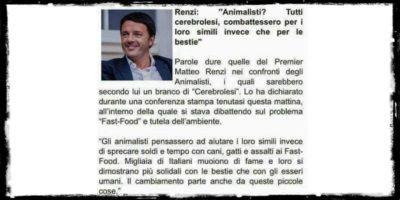 La bufala su Renzi e gli animalisti