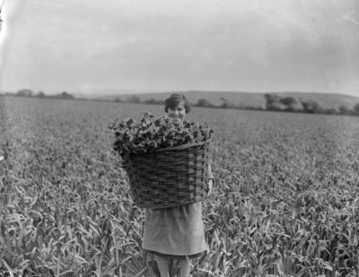 Con una cesta piena di fiori