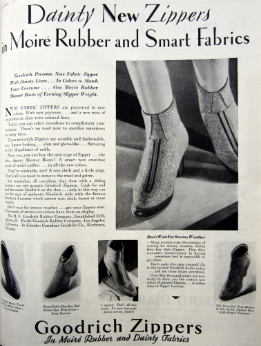 fb8a8be6b3 La pubblicità di un paio di zipper da donna di B.F. Goodrich Zipper, sul  numero di dicembre 1928 della rivista femminile Delineator