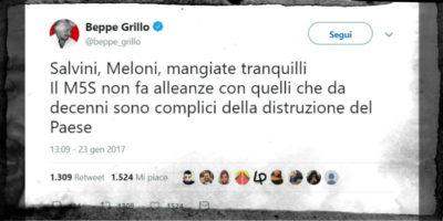Un tweet di Beppe Grillo che non è invecchiato bene
